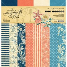 """Graphic 45 Sun Kissed Patterns & Solids 12""""x12"""" Paper Pad 16 sheets 4501677"""