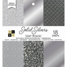 "DCWV Solid Silvers 6""x6"" Specialty Cardstock Stack 18 sheets PS-006-00136"