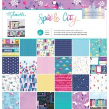 "American Crafts Shimelle Sparkle City 12""x12"" Paper Pad 48 Sheets 351974"