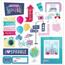 "American Crafts Shimelle Sparkle City 12""x12"" Self Adhesive Chipboard Accents 351331"
