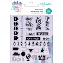 American Crafts Shimelle Sparkle City Clear Stamp Set 351336