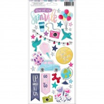 "American Crafts Shimelle Sparkle City 6""x12"" Accent & Phrase Stickers 351330"