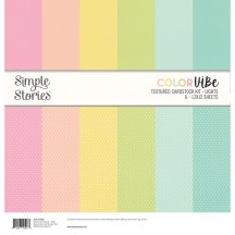 "Simple Stories Color Vibe Lights 12""x12"" Textured Cardstock Kit 13430"