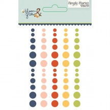 Simple Stories Bloom & Grow Enamel Dots - navy, pink, red, yellow, green 7131