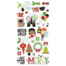 Simple Stories Say Cheese Christmas Self Adhesive Chipboard Shape Stickers 11514
