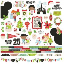"Simple Stories Say Cheese Christmas 12""x12"" Combo Element & Word Stickers 11501"