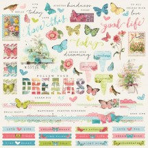 "Simple Stories Simple Vintage Botanicals 12""x12"" Combo Element & Word Stickers 10473"