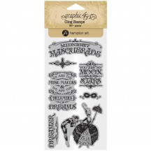 Graphic 45 Midnight Masquerade 1 Rubber Cling Stamp Set IC0383