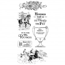 Graphic 45 Off to the Races 2 Rubber Cling Stamps by Hampton Art IC0369