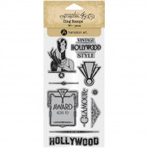 Graphic 45 Vintage Hollywood 3 Rubber Cling Stamp Set IC0379