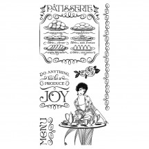 Graphic 45 Cafe Parisian 2 Rubber Cling Stamps by Hampton Art IC0366