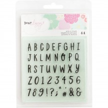 American Crafts Dear Lizzy Stay Colorful Alphabet Clear Stamp Set 346490