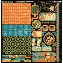 "Graphic 45 Vintage Hollywood 12""x12"" Die-cut Cardstock Alphabet & Element Stickers 4501538"
