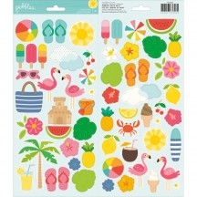"Pebbles Sunshiny Days 6""x12"" Accent Stickers - 2 sheets 733608"