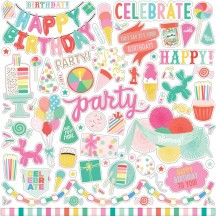 "Echo Park Let's Party Birthday 12""x12"" Element Shape Stickers LP170014"