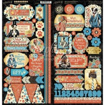 """Graphic 45 Well Groomed 12""""x12"""" Die-cut Cardstock Element Stickers 4502269"""