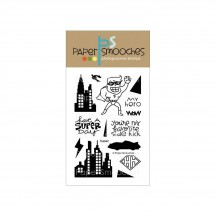 "Paper Smooches Super Hero 4""X6"" Clear Stamps"