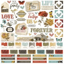 "Simple Stories Simple Vintage Ancestry 12""x12"" Cardstock Element Stickers 14101"