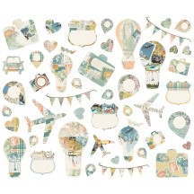 Simple Stories Simple Vintage Traveler Collage Bits & Pieces Die-Cut Cardstock Embellishments 10467