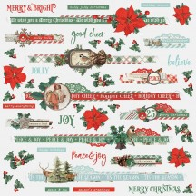 """Simple Stories Simple Vintage Country Christmas 12""""x12"""" Border Stickers 11336"""