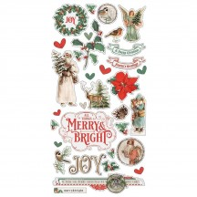 Simple Stories Simple Vintage Country Christmas Self Adhesive Chipboard Shape Stickers 11320