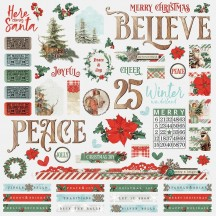 "Simple Stories Simple Vintage Country Christmas 12""x12"" Combo Element & Word Stickers 11301"