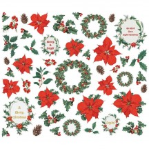 Simple Stories Simple Vintage Country Christmas Floral Bits & Pieces Die-Cut Cardstock Embellishments 11322