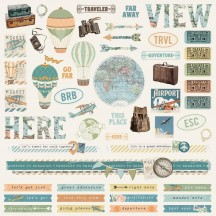"""Simple Stories Simple Vintage Traveler 12""""x12"""" Combo Element & Word Stickers 10447"""