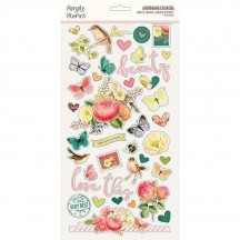 Simple Stories Simple Vintage Garden District Self Adhesive Chipboard Shape Stickers 15216