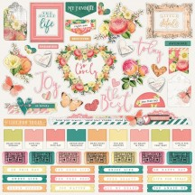 """Simple Stories Simple Vintage Garden District 12""""x12"""" Combo Element & Word Stickers 12501"""