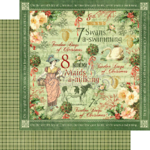 "Graphic 45 Twelve Days of Christmas Double-sided 12""x12""  - Swans A Swimming"