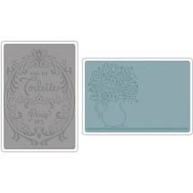 Sizzix Flowers & Perfume Label Set Textured Impressions Embossing Folders 658969