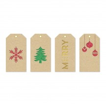 American Crafts Peppermint Express Christmas Large Decorative Layered Tags 366109