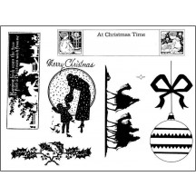 The Artistic Stamper Victorian Christmas 4 Unmounted Red Rubber Stamp Set - TAS005
