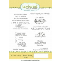 Taylored Expressions The Inside Scoop Belated Birthday Cling Rubber Stamp Set TEMS159