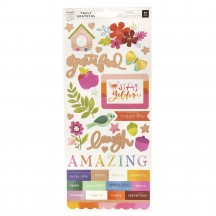 "Pink Paislee Paige Evans Truly Grateful 6""x12"" Accent & Phrase Stickers 310882"