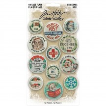 Tim Holtz Idea-ology Christmas Vintage Flair Button Embellishments TH94105