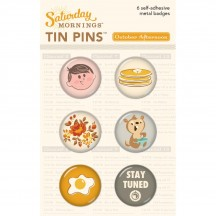 October Afternoon Saturday Mornings Tin Pins Flair Embellishment Stickers EM-1342
