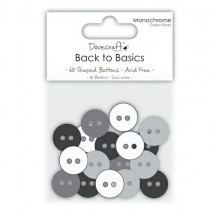 Dovecraft 60 Shaped Buttons - Monochrome - DCBN008