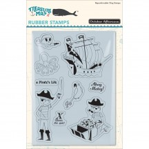 October Afternoon Treasure Map A Pirate's Life Repositionable Cling Stamps PP-1275