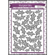 Creative Expressions A6 U-Mount Stamps - Newsprint Holly Background