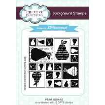 """Creative Expressions 4""""x4"""" Pear Square Background Cling Stamp - UMS646"""