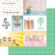 "Webster's Pages Make A Wish Worth It 12""x12"" Double Sided Cardstock - Journaling Elements Cards US2389D"