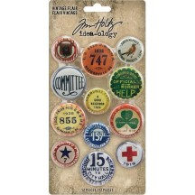 Tim Holtz Idea-ology Vintage Flair Button Embellishments TH94027