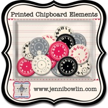 Jenni Bowlin Studio Watch Faces Printed Chipboard Elements CP808