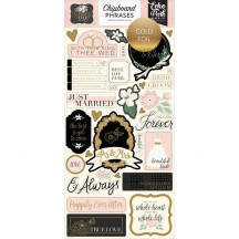Echo Park Wedding Day Self Adhesive Chipboard Phrase Stickers WD181022