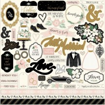 "Echo Park Wedding Day 12""x12"" Element Shape Stickers WD181014"
