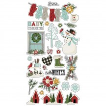 Simple Stories Winter Farmhouse Self Adhesive Chipboard Shape Stickers 11619