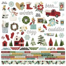 "Simple Stories Winter Farmhouse 12""x12"" Combo Element & Word Stickers 11601"