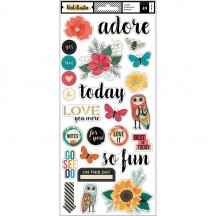 "American Crafts Vicki Boutin Wildflower & Honey 6""x12"" Accent & Phrase Stickers 352257"